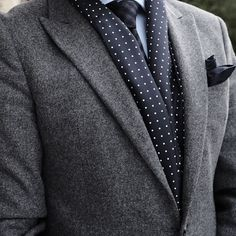 Navy Polka Dot Silk Scarf with Grey Suit