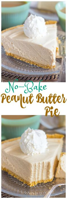 No-Bake Peanut Butter Pie recipe thegoldlininggirl.com pin