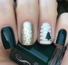 Stunning Holiday manicure by @melcisme using our Christmas Tree Nail Art Stencils found at snailvinyls.com