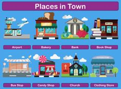 Places In Town / City - Poster, Flashcards, Bingo, Worksheet Places In Town, Color Flashcards, Tracing Worksheets, Classroom Posters, Bingo Cards, Bus Stop, My Town, Vocabulary Words, Train Station