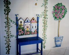Painted bench and wall mural by Louise Moorman
