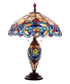 Look at this #zulilyfind! Amber & Blue Stained Glass Victorian Double Lit Table Lamp #zulilyfinds