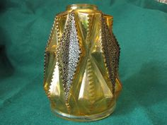 Old Decorative Art Glass Vase Amber Yellow the lamp