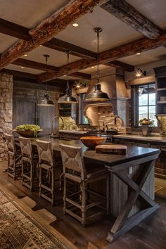 70+ Rustic Kitchen Cabinets ( COUNTRY LIFE ) - Wood Cabinet Designs Rustic Kitchen Lighting, Rustic Kitchen Cabinets, Rustic Kitchen Design, Home Decor Kitchen, Kitchen Interior, New Kitchen, Vintage Kitchen, Home Kitchens, Kitchen Ideas