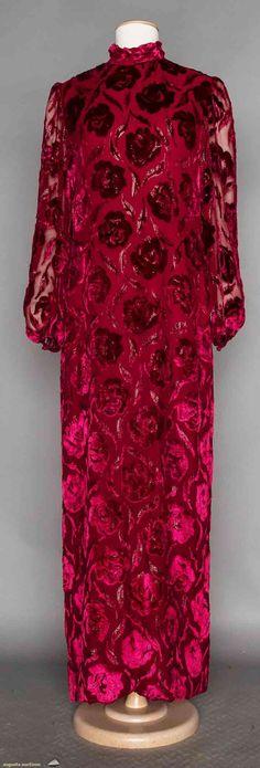 Designer Devore Velvet Gown, 1970-1980s, Augusta Auctions, November 11, 2015 NYC