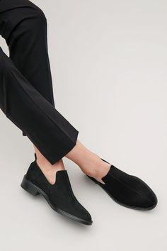 COS image 4 of Suede slip-on shoes in Black