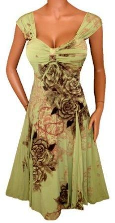 I found 'FUNFASH SAGE GREEN FLORAL SUBLIMATION EMPIRE WAIST SLIMMING COCKTAIL DRESS NEW Plus Size Made in USA' on Wish, check it out!