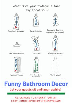 Make your bathroom a little more welcoming with some funny bathroom art. There's a full range of bathroom humor to choose from, including quirky prints, weird art, and funny animal prints. They're also great for birthday gifts, dorm decor, and funny cubicle decor at the office. Your bathroom interior will never be the same!  #etsy #etsyshop #bathroomart #bathroomhumor #bathroomideas