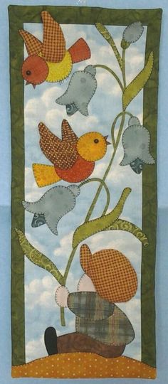 birds and flowers applique Hand Applique, Applique Patterns, Applique Quilts, Applique Designs, Patchwork Quilting, Quilt Patterns, Small Quilts, Mini Quilts, Bird Quilt