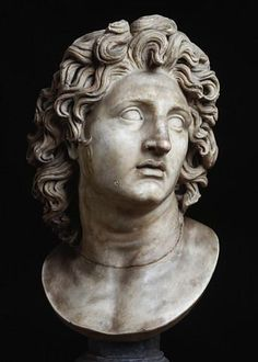 Alexander the Great, depicting expressions of Alexander though in reality he may not have looked this way. a flatteed depiction but the expression shows a man a restless spirit, shown through raided eyebrows and lively expression. emotion depicts character