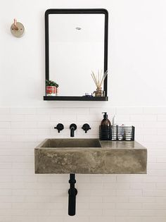 Polished concrete bathroom sink - An individually designed and handcrafted glass fibre reinforced (GFRC) polished concrete bathroom s - Bad Inspiration, Decoration Inspiration, Bathroom Inspiration, Concrete Sink Bathroom, Bathroom Sink Faucets, Wall Faucet, Wall Mounted Bathroom Sinks, Glass Bathroom, Bathroom Storage