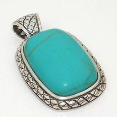 Southwestern Silver Pendant Large Blue Turquoise Sterling 925 BA25   eBay