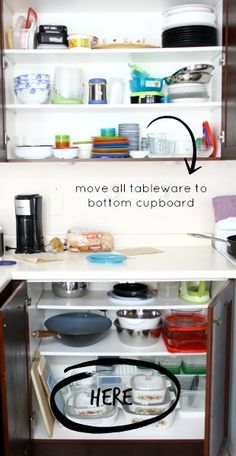 Montessori Kitchen -- A simple swap of your utensils and dishware spaces can make a huge difference in your child's independence.  See how we've organized our Montessori Kitchen.  {PlantingPeas.com}