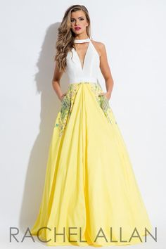 Be elegant and sassy in this collared v neck ball gown that has detailed pockets and an open back, and it's at Rsvp Prom and Pageant, your source of the HOTTEST Prom and Pageant Dresses!