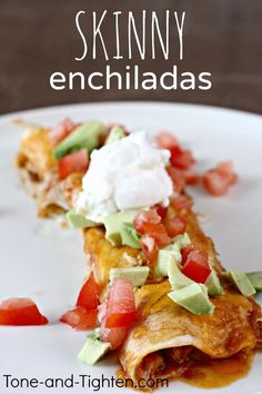 (Slow Cooker) Skinny Chicken Enchiladas from Tone-and-Tighten.com #dinner #healthyrecipe