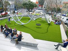 Sculptural steel and rope outdoor play equipment in South Park, San Francisco play area Outdoor Play Equipment, Outdoor Play Areas, Park Playground, Playground Design, South Park, Festival Plaza, Urban Park, Garden Architecture, Parking Design