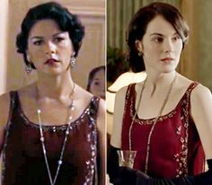 Who Wore it Best? Downton isn't the first period project to rent vintage pieces from a costume house: Here's Michelle Dockery (right) in the same bloodred evening dress worn by Catherine Zeta-Jones in 2007's Death Defying Acts.