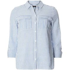 Dorothy Perkins Sky Blue Stripe Textured Shirt ($39) ❤ liked on Polyvore featuring tops, blue, striped shirt, dorothy perkins, pocket shirts, blue stripe shirt and blue striped shirt
