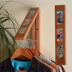Create convenient hanging storage for clothing and outerwear in an instant with the versatile and decorative Chestnut Wood InstaHanger with Photo Frames. for the laundry room. Laundry Room Organization, Laundry Room Design, Portable Closet, Hanging Organizer, Hanging Storage, Space Saving, Small Spaces, Small Apartments, Room Decor