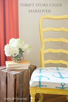 Thrift Store Chair Makeover - Nautical Style Crafts by Courtney