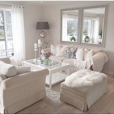 Mirrors by window: brighter, feels larger Shabby Chic Living Room, Home Living Room, Living Room Designs, Living Room Decor, Taupe Walls, Design Salon, White Rooms, Home Decor Bedroom, Cozy House