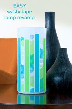 Easy washi tape lamp revamp via washitapecrafts.com