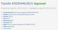 I am getting paid daily at ACX and here is proof of my latest withdrawal. This is not a scam and I love making money online with Ad Click Xpress.  From STPay member: adclickxpress (owner@adclickxpress.com) Transaction Number: 30004462823 Amount: $6.35 Currency: USD Note (if provided): Ad Click Xpress Withdraw #2679985-21526 Transaction Fees: $0.35