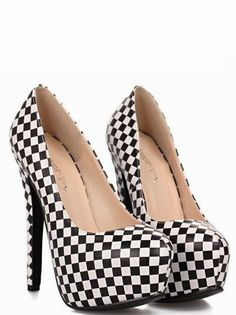 Black & White houndstooth Design Woman's High Heel Shoes