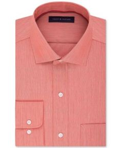 Tommy Hilfiger Men's Classic-Fit Non-Iron Solid Dress Shirt - Orange 15.5 32/33