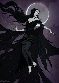 Nyx - Greek goddess of the night #nyx #greek #goddess #god #night #moon #gothic #dark #art #illustration #irenhorrors