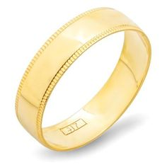 10k Yellow Gold Men's Ladies Unisex Ring Wedding Band 5MM Milgrain Domed Plain Shiny Polished Traditional Fit (Available in Sizes 5 to 13) DazzlingRock Collection. $99.00. Made in USA. This light weight wedding band measures 5 mm in width. The band has a slightly rounded shape and a bright polished finish. Get most bang for your buck. Crafted in 10k Yellow-gold