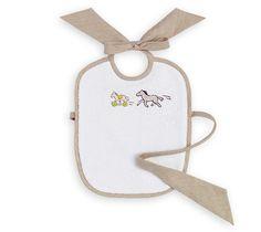 Adada  Hermes hand embroidered baby bib in hazelnut. 100% cotton terry cloth, back side 100% linen.