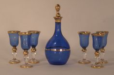 Decanter Set #37 by Gerd Felka - $215.00 : Swan House Miniatures, Artisan Miniatures for Dollhouses and Roomboxes