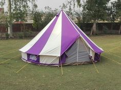 5m Metre GlampTex 500- Ultimate Purple & Cream Bell tent- Zipped-in- Groundsheet