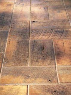 reclaimed barnwood bricks - LOVE the look of this floor....