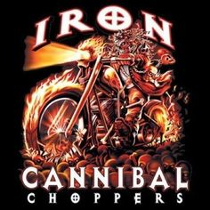 Biker Tshirt Iron Cannibal Choppers Motorcycle Helmet Rally Ride Road Route 66 #Unbranded #GraphicTee