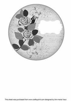 Silver Rose Circle1 Matching Circle 7in Insert Panel on Craftsuprint - Add To Basket!