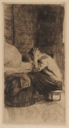 Woman at the Cradle Etching; Käthe Kollwitz 1897