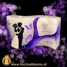 Hochzeitskerze Lila violett Brautpaar Schmetterlinge Lilac, Wave, Newlyweds, Candles, Homemade, Gifts, Decorations