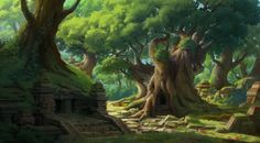 ArtStation - Old temple in the forest, yeonji Rhee
