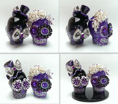 Skull purple and black weddings cake topper by iampleasure on Etsy