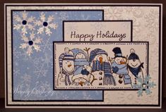 Here is another one that would probably work with my snowman family stamp and some small cut out snowflakes in glitter or pearlized paper