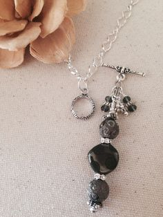 Interchangeable beaded pendant impeccably made many more to choose pretty blackcharcoal polka dot beaded necklace one chain interchangeable dangle beads aloadofball Choice Image