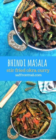 Bhindi masala - A popular Indian curry made using Bhindi (lady's finger / okra), onions and tomato, using common Indian spices. Best served with roti or dal & rice. {gluten free} {vegan} #curry
