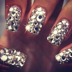 Coolest nails ever #gemstones #jewels