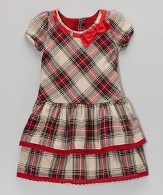 Take a look at this Red Plaid Holiday Puff-Sleeve Dress - Infant, Toddler & Girls on zulily today!