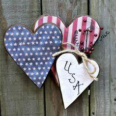 Primitive Americana Patriotic Three Hearts by GypsyWindPrimitives