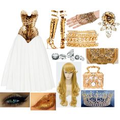 Gold and White by akasthia on Polyvore featuring Brock Collection, 2b bebe, Elizabeth Cole, Akira, Dolce&Gabbana, Thierry Mugler, Tom Ford, Balmain, Occhi Verdi and 224