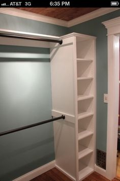 Closet organizers and shelves - also like the crown molding on door and ceiling material