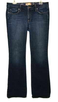 PAIGE Womens 30 10 Dark Wash Stretch Hollywood Hills Classic Rise Boot Cut Jeans #Paige #BootCut